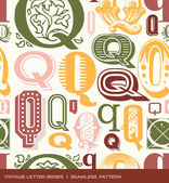 Seamless vintage pattern of the letter q in retro colors — Stock Vector
