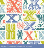 Seamless vintage pattern of the letter x in retro colors — Stock Vector