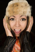 Asian Caucasion woman with a happy expression wearing winter fur — Foto Stock
