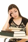 Female student overwhelmed with a pile of books — Stock Photo