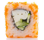 Sushi roll in ikura ( tobiko ) with crab and cucumber isolated on white background — Stock Photo