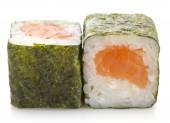 Sushi maki roll with salmon isolated on white background — Stock Photo