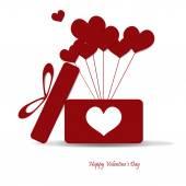 Open box with heart balloon vector illustration. Eps 10. — Stock Vector