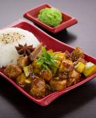 Japan cuisine. rice with zucchini in honey sauce. — Stok fotoğraf