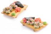 Japanesse cuisine. Sushi set ovwe white bakground. — Stock Photo