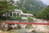 Iron bridge over mountain river — Stock Photo
