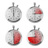 Set of Stopwatches isolated on white — Stock Photo