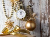 Christmas decorations with clock and bauble  — Foto de Stock