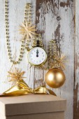 Christmas decorations with clock and bauble  — Stock Photo