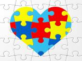 Autism Awareness symbol: puzzle with heart — Stock Photo