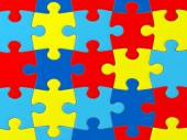 Autism Awareness puzzle pattern  — Stock Photo