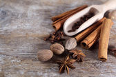Spices on wooden background. — Stock Photo