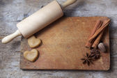 Biscuit dough with spices and tools — Fotografia Stock