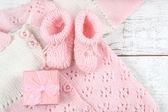 Decorations for newborn girl — Stock Photo