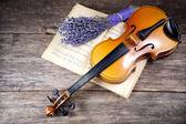 Vintage viola on sheet music — Stock Photo