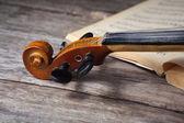 Vintage viola on sheet music — Stock fotografie