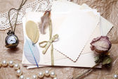 Old accessories and post cards — Stock Photo