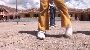 Schoolgirls playing in the schoolyard — Stock Video