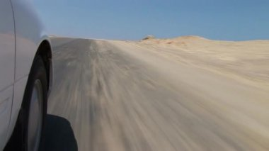 Car driving thru Paracas National Park — Stock Video