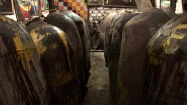 Barrils for the production of Pisco — Stockvideo