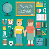 Back to School Flat Icons Set — Stock Vector