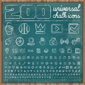 Universal Icons in chalk doodle style — Stockvektor