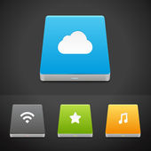 Portable Data Storage Hard Disc Drive Icons. — Vector de stock