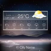 Weather Widget with landscape — Stock Vector