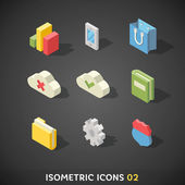 Flat Isometric Icons Set — Stock Vector