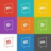 Sale Speech Bubbles — Stock Vector