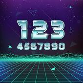 Retro Sci-Fi Numbers — Stock Vector