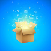 Cardboard Box with Icons — Stock Vector