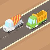 Cartoon isometrisk lastbilar — Stockvektor