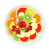 Assorted fruits on platter — Stock Vector