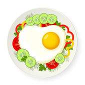 Scrambled egg and fresh vegetables — Stock Vector