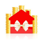 Red house icon with bow and coins — Stock Vector