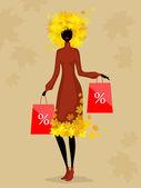 Woman and autumn discounts — Vecteur