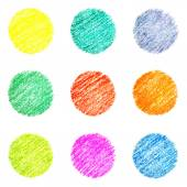 Set of hatched colourful circles — Stock Photo