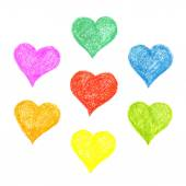 Set of hatched colourful hearts — Stock Photo