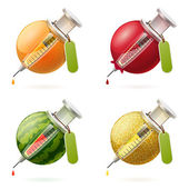 Stylized fruits and syringes — Stock Vector