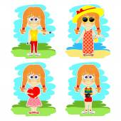 Funny girl is on vacation — Stock Vector