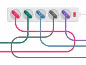 Power strip and cables — Stock Vector