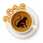 Coffee cup with symbol of New Year 2016 — ストックベクタ