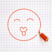 Face with kiss drawn with pencil — Stock Vector
