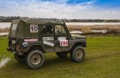 Drives UAZ during a motoring event Lvov Off-Road — Stock Photo