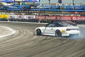Drift cars brand Nissan overcome turn track — Stock Photo