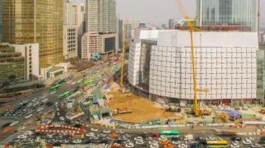 Seoul City Lotte World Tower Construction — Vídeo Stock