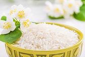 Bowl with rice jasmine — Stock Photo