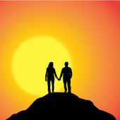 Vector silhouette of couple. — Stock Vector