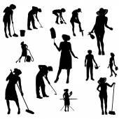 Silhouette vettoriali della donna. — Vettoriale Stock